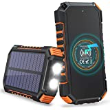 Hiluckey Solar Charger 26800mAh, Wireless Portable Charger 18W PD USB C Power Bank with 4 Outputs and LED Flashlight…