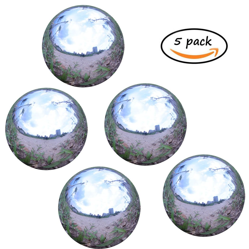Stainless Steel Gazing Ball for Homes and Gardens Ornament, Hollow Ball Mirror Polished Shiny Sphere, Pack of 5 (2 Inch)
