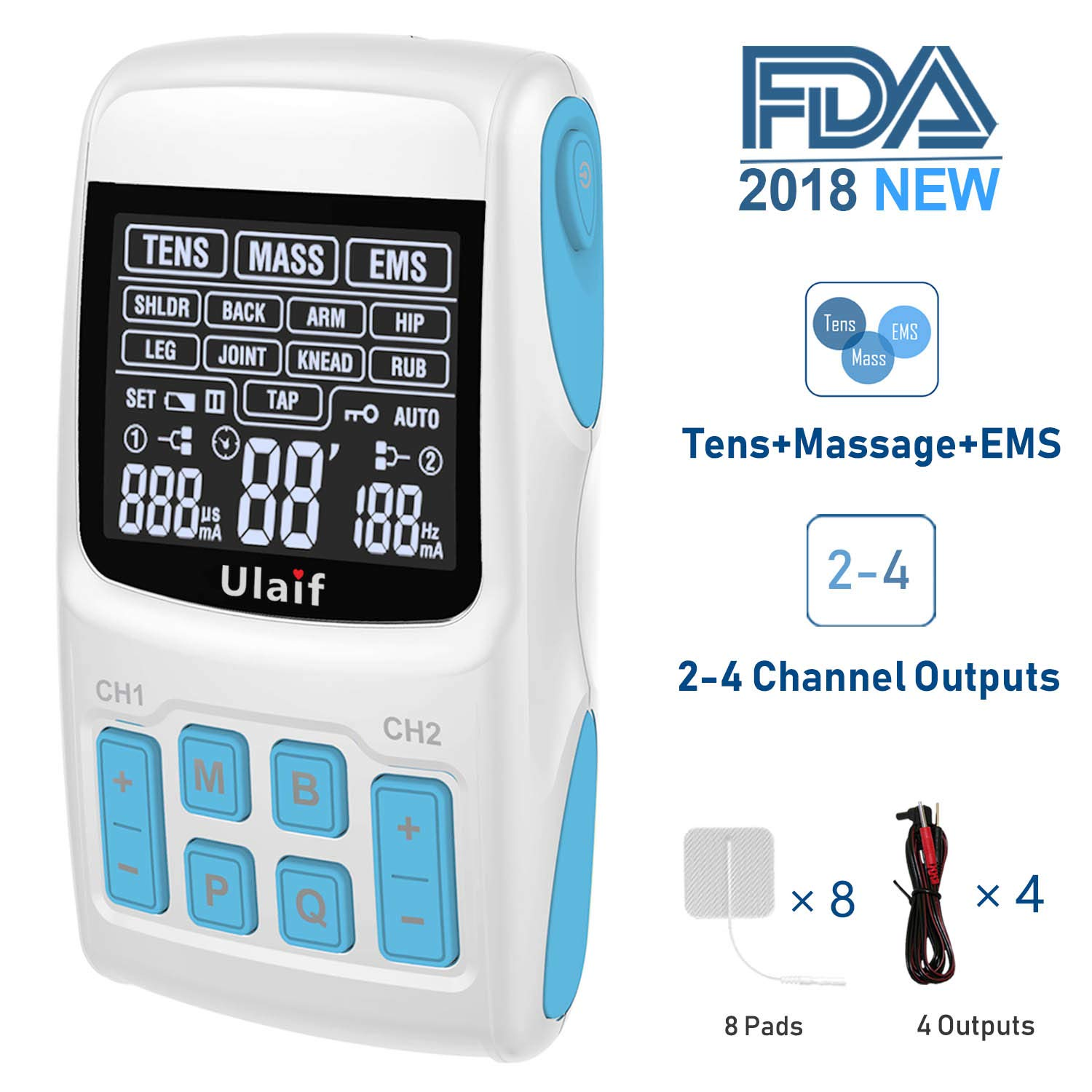TENS Unit+EMS Muscle Stimulator+ Pulse Massager 3-in-1 Combination, Ulaif 2018 New FDA Approved, 36 Modes for Pain Relief & Muscle Strength, 2-4 Channels Output,8 Long Life Pads