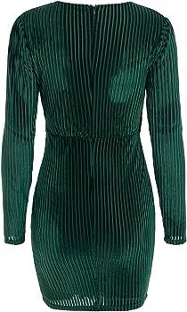 6e8dc881c8b46 BerryGo Women's Velvet Wrap V Neck Dress Long Sleeve Mini Dresses ...