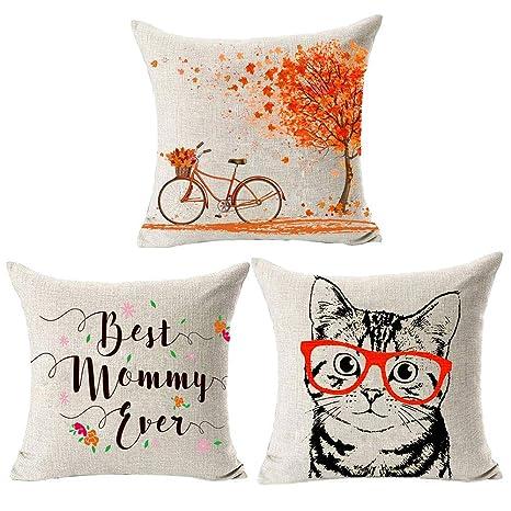 GSYClbf Funda de cojín de lino con letras inglesas para sofá ...