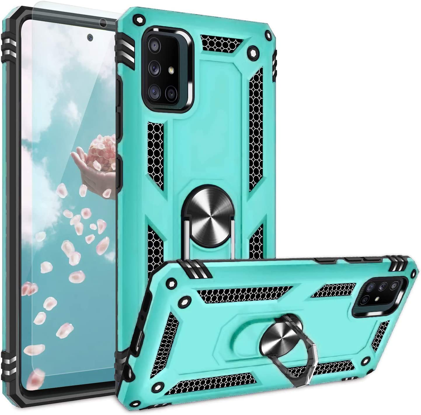 Amazon Com Tjs Phone Case Compatible With Samsung Galaxy A71 5g A91 M80s Not Fit Galaxy A71 4g Verizon Galaxy A71 5g Uw With Tempered Glass Screen Protector Metal Ring Magnetic Support Armor Cover Teal Electronics