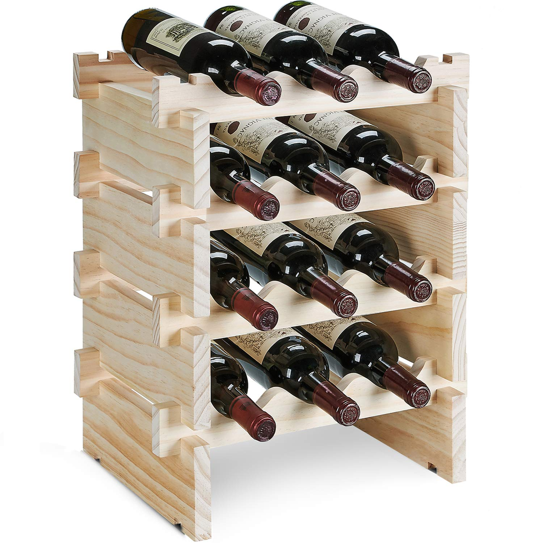 defway Wood Wine Rack Countertop - Stackable Storage Wine Holder 12 Bottle Display Free Standing Natural Wooden Shelf for Bar Kitchen (4-Tier Natural Wood)