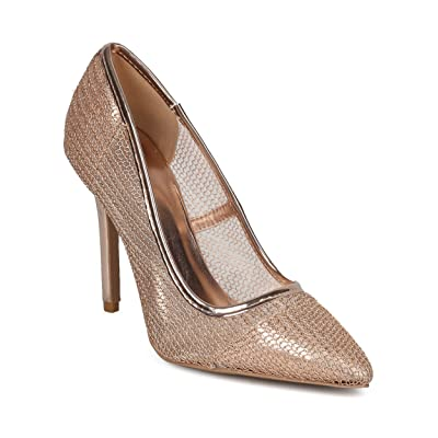 Women Mesh Stiletto Pump - Pointy Toe Single Sole Pump - Office Dressy Wedding Special Occasion Formal Heel - HD64 By Qupid Collection