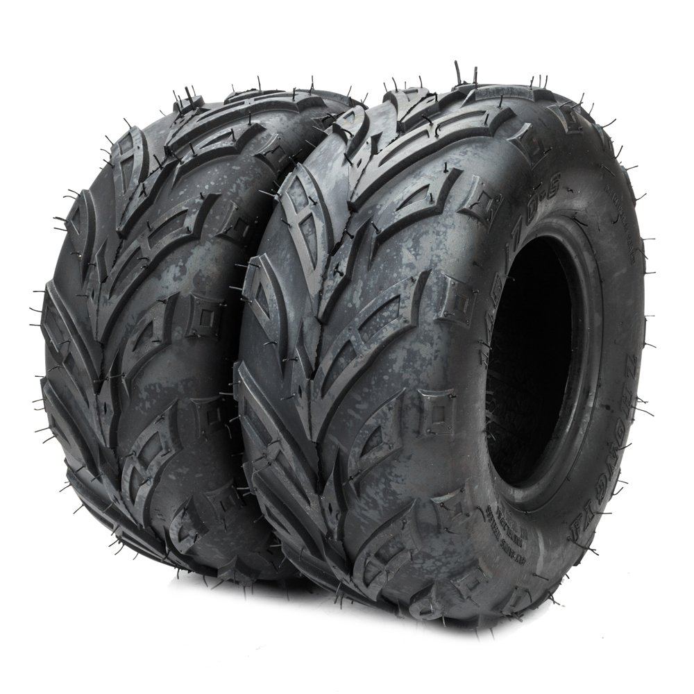 2PCs 145/70-6 ATV Go Kart Tires 4PR P361 Rated Black 145/70-6 Tubeless Tires by TRIBLE SIX