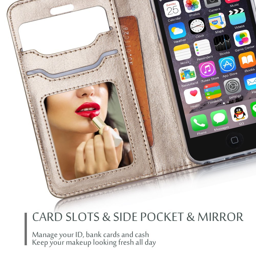 iPhone SE / 5S Case Cover, ProCase Wallet Flip Case, with Wristlet Strap, Build-in Card Slots and Mirror, Stylish Slim Stand Cover for Apple iPhone SE / 5S (Black) by ProCase (Image #2)
