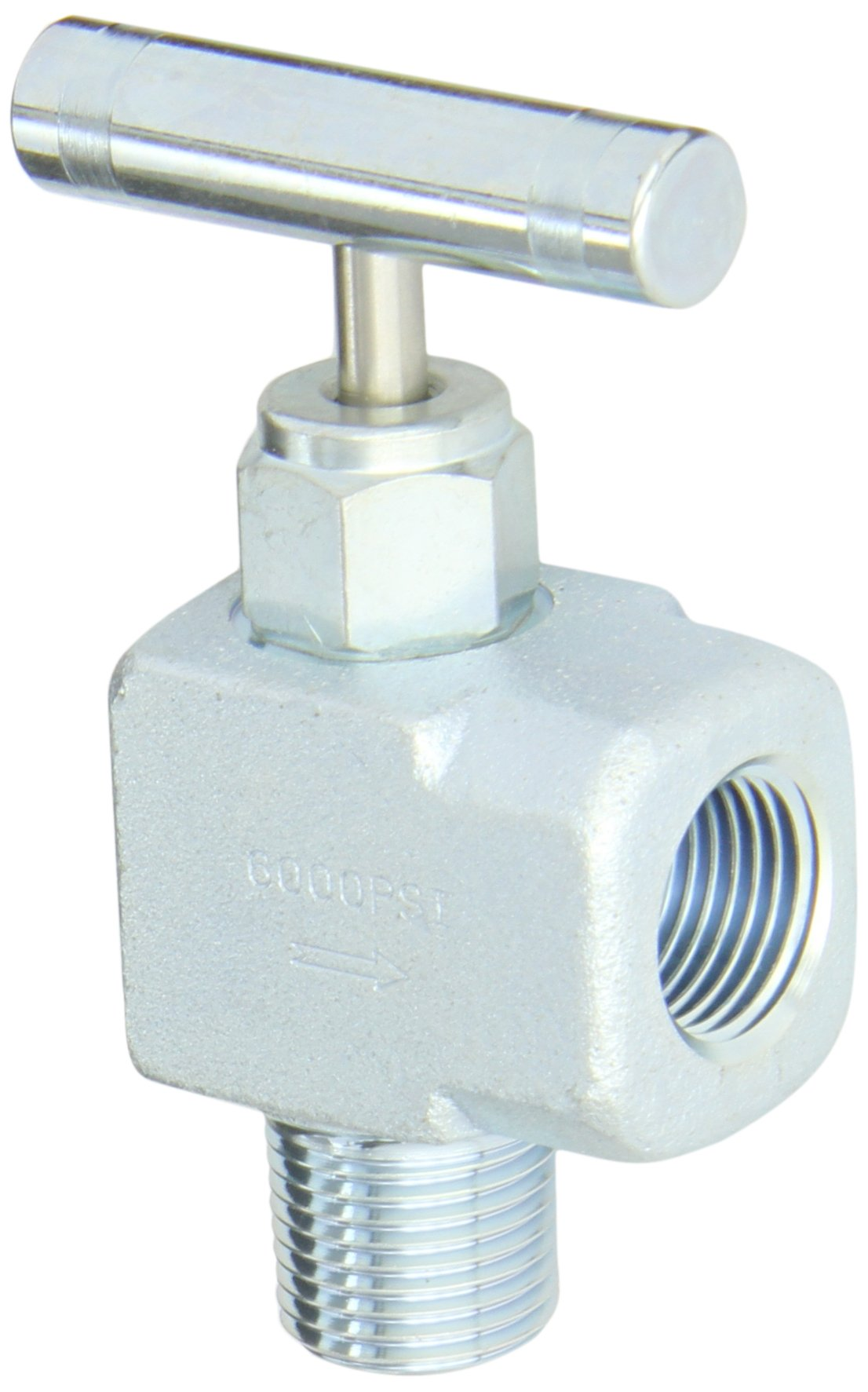 PIC Gauge NV-CS-1/2-GS-90-MXF Carbon Steel 90° Angle Needle Valve with Gas Service Seat, 1/2'' Male NPT x 1/2'' Female NPT Connection Size, 6000 psi Pressure