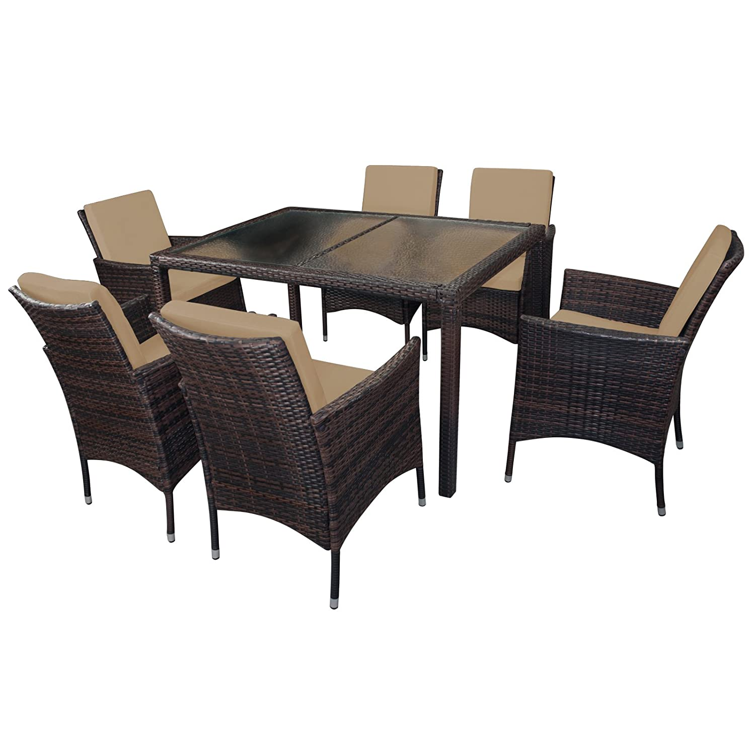 19 teilige polyrattan essgruppe margarita f r 6 personen. Black Bedroom Furniture Sets. Home Design Ideas