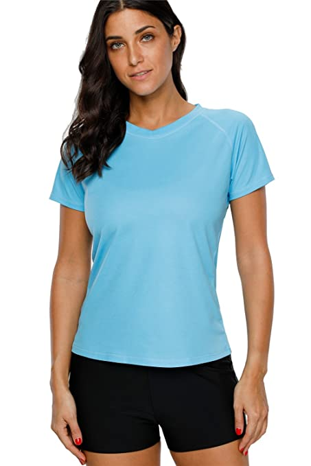 3ba69383a17 maysoul Women Short Sleeve Rashguard Top UPF 50+ Swimming Shirts Aqua Medium