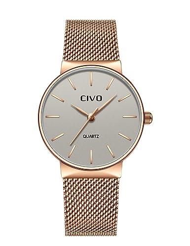 CIVO Relojes para Mujer Reloj Damas de Malla Impermeable Silm Minimalista Elegante Banda de Acero Inoxidable