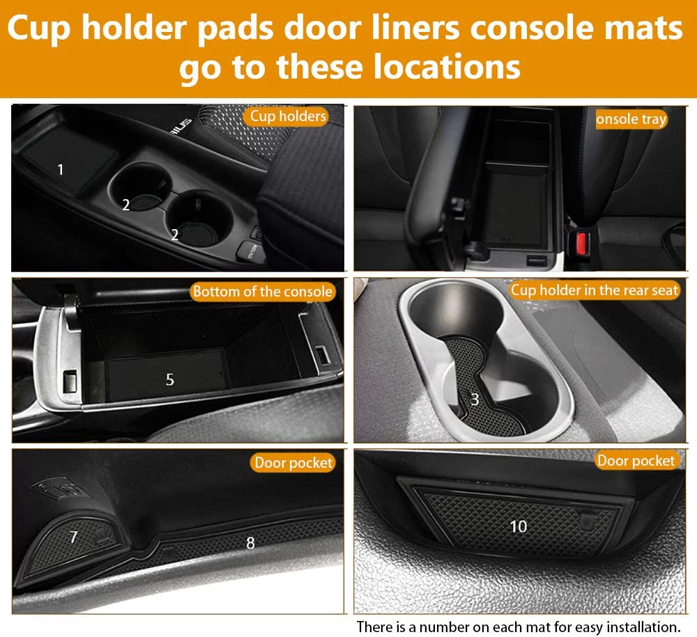 Auovo Anti dust Mats for 2016-2019 Toyota Prius Interior Accessories Custom Fit Door Pocket Liners Cup holder Pads Console Mats 16pcs//set, Blue