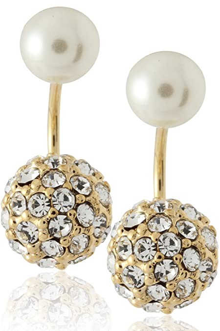 989d4938418f3 Front to Back Earrings with Crystal Fireball and Simulated Cream Pearl Ball  by Lovey Lovey