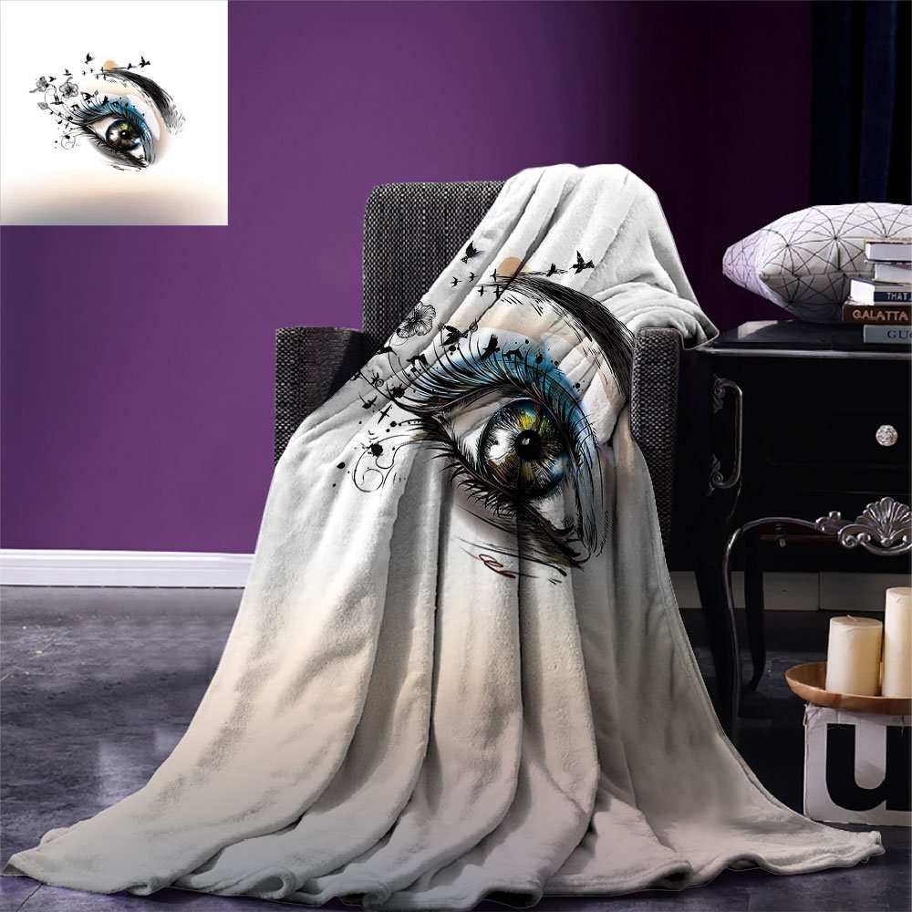 Eyelash Throw Blanket 3D Style Illustration of Eye with Dots on White Background Retro Haltone Effect Warm Microfiber All Season Blanket for Bed Or Couch Black White