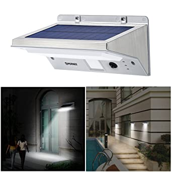 Solar Lights Outdoor, OPERNEE Stainless Steel Motion Sensor 21 LED Bright  Wireless Wall Lights,