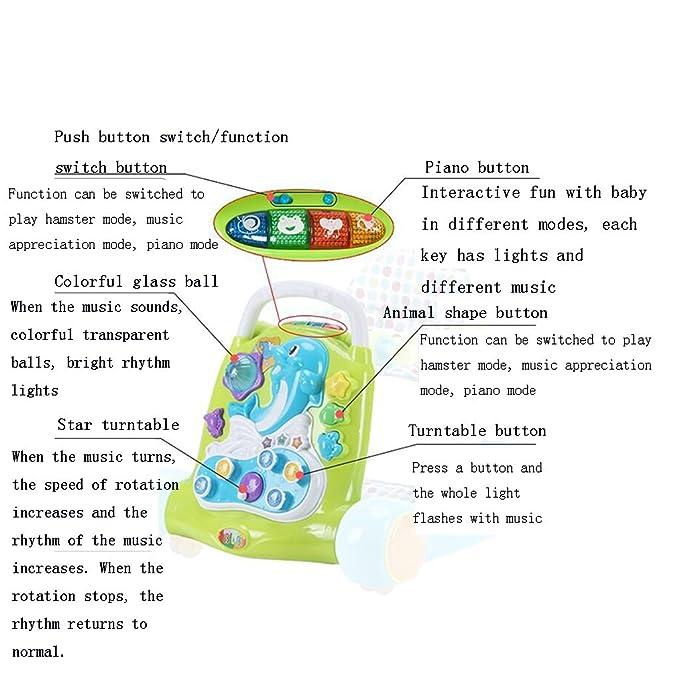 Baby walker Plástico + Tela 7-18 Meses Puede Sentarse Pushable ...