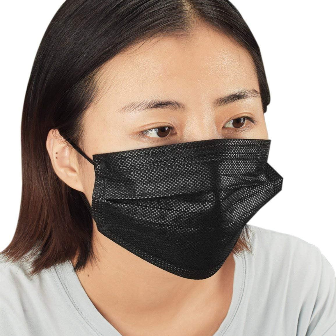 10 pcs//pack jetable non tiss/é noir masque facial m/édical dentaire boucle doreille