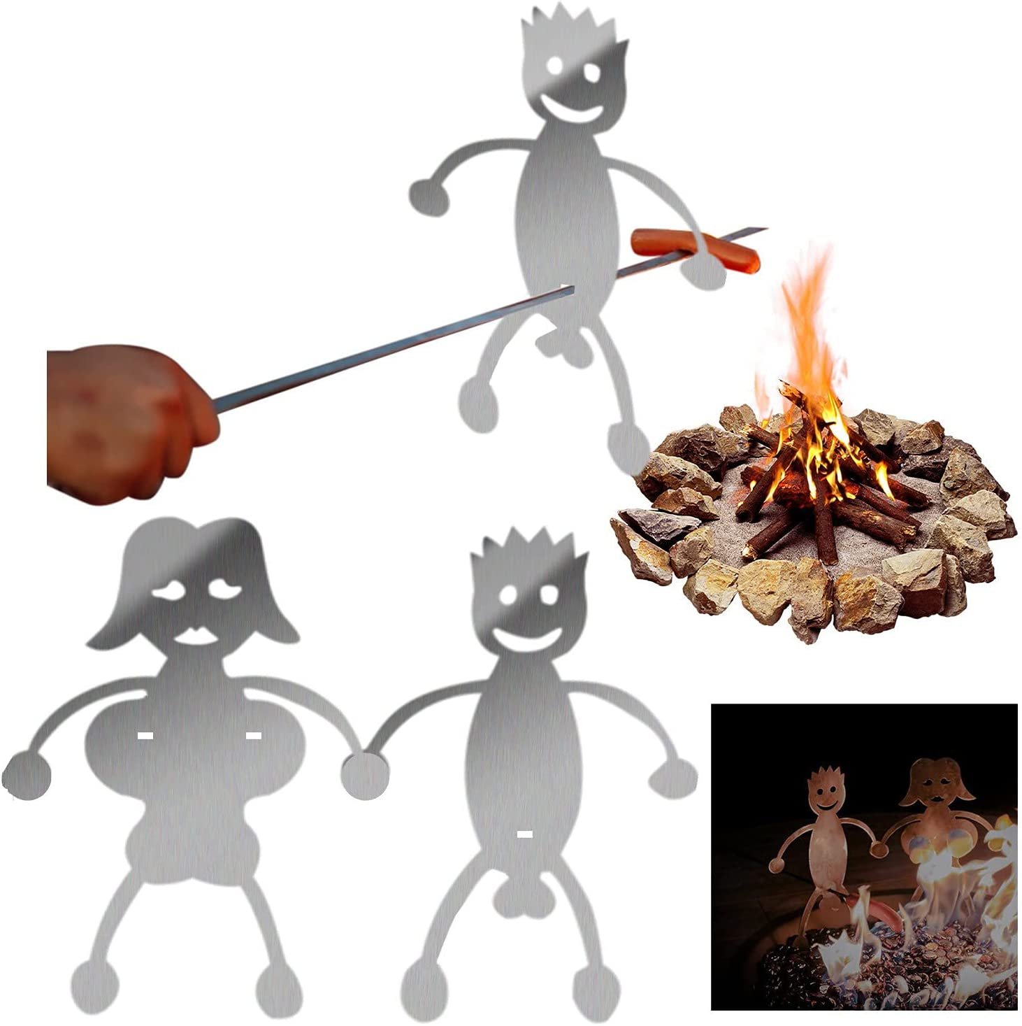 MAITING Steel Hot Dog/Marshmallow Roasters, Novelty Women Men Shaped Stainless Steel Camp Fire Roasting Stick, Funny Metal Craft Skewer Stick(Marshmallow Girl + Hot Dog Boy)