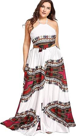 Floerns Women's Plus Size Dresses Summer Sleeveless Halter Neck Party Long Maxi Dress