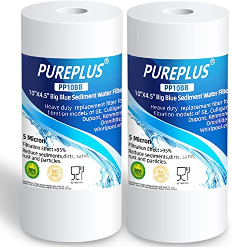 Amazon Com Pureplus 5 Micron 10 X 4 5 Whole House Big Blue Sediment Home Water Filter Replacement Cartridge For Culligan Rfc Bbsa W15 Pr Hd 950 Wfhd13001b Gxwh35f Gxwh30c Aqua Pure Ap817 Pp10bb 2pack Kitchen Dining
