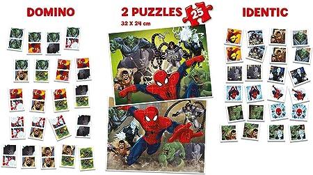 Educa- Superpack Spiderman:Domino, Identic y 2 Puzzles, Juego de Mesa para niños, a Partir de 3 años (17197)