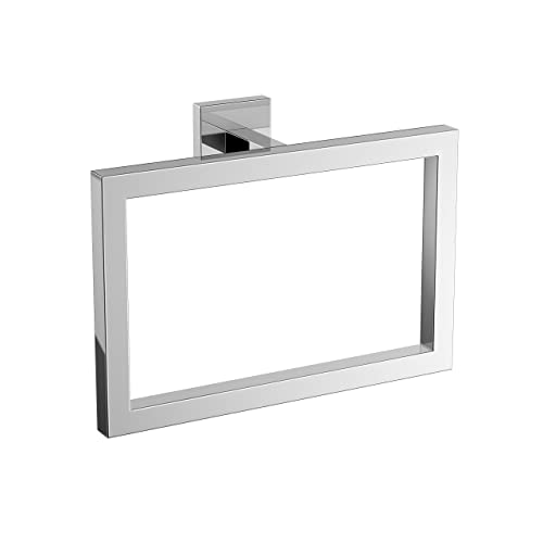 iBathUK Modern Chrome Towel Ring Holder Wall Mounted Square Bathroom Accessory ACC121