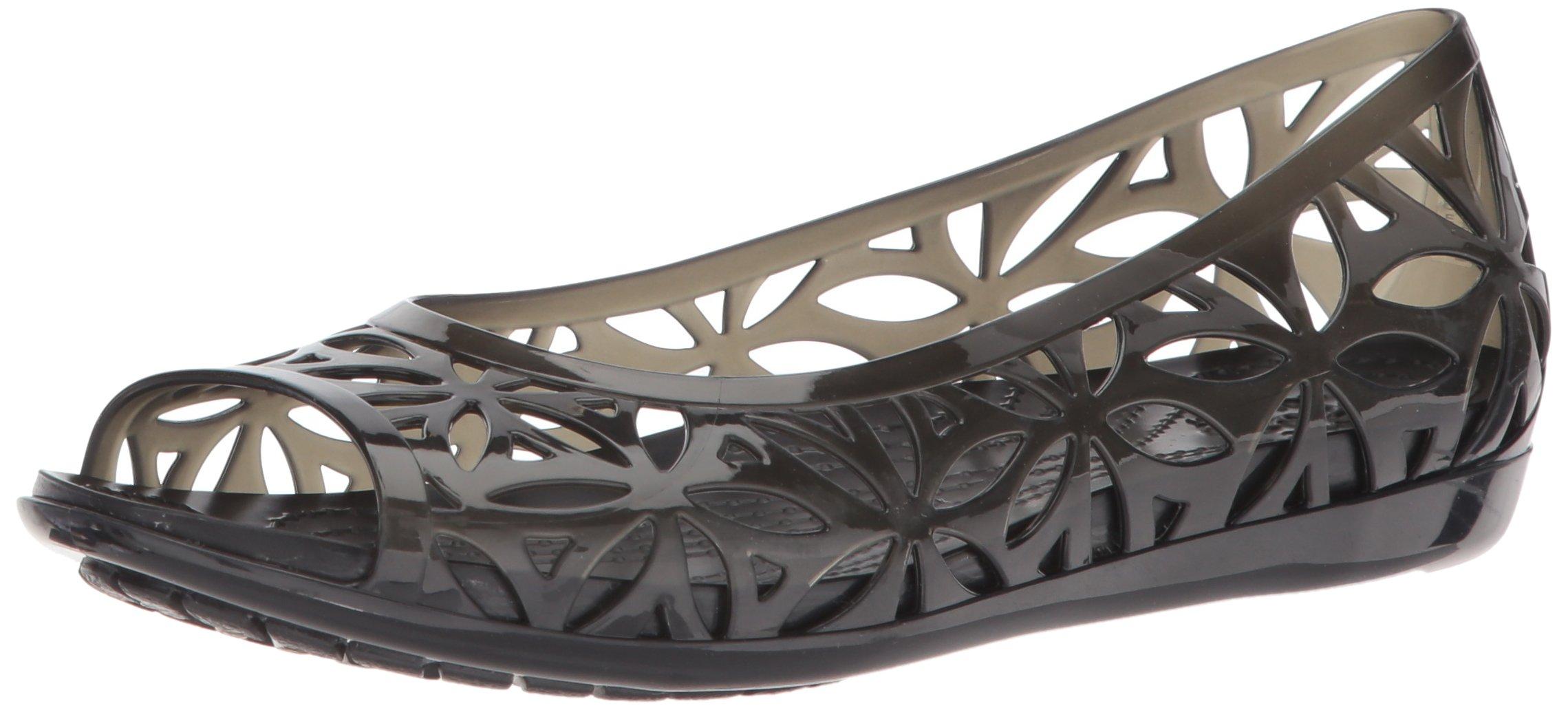 Crocs Women's Isabella Jelly II W Flat Sandal, Black/Black, 11 M US by Crocs