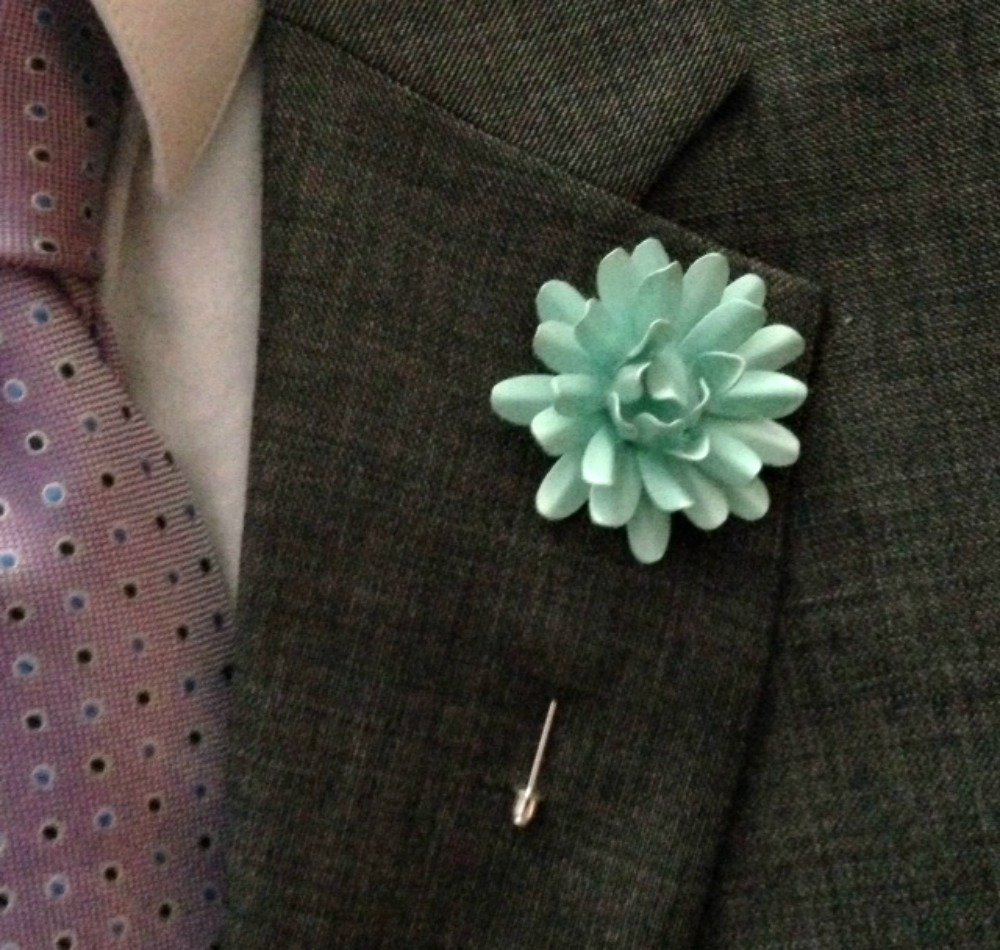 All Metal Enamel Seafoam Lapel Pin Marigold