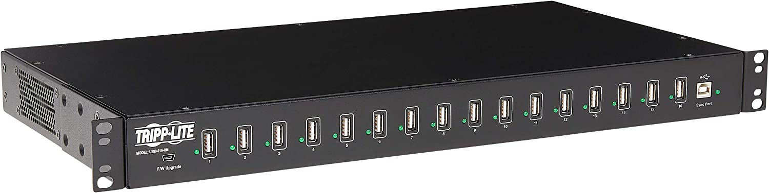 TRIPP LITE 16-Port USB Sync Charging Hub Station Tablet Smartphone iPad/iPhone Rackmount TAA (U280-016-RM), Black
