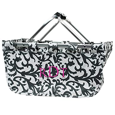 Personalized Gray Damask Large Market Tote Basket Monogrammed