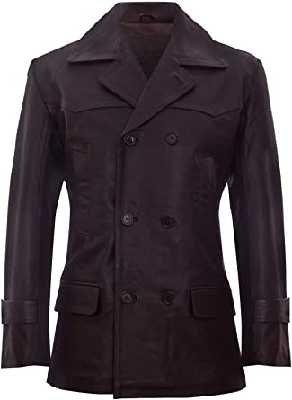 Infinity Mens Black German Naval Dr Who Cow Hide Leather Pea Coat
