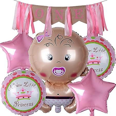 Guirnalda Banderine ONE Banderita Yute + 5 Globos Metalicos Niña Estrellas Redondos Decoración Primer Cumpleaños Fiesta Cumpleaños 1 Año Bautizo ...