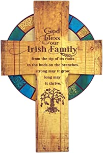 God Bless Our Irish Family Wooden Celtic Wall Cross, 13 Inch