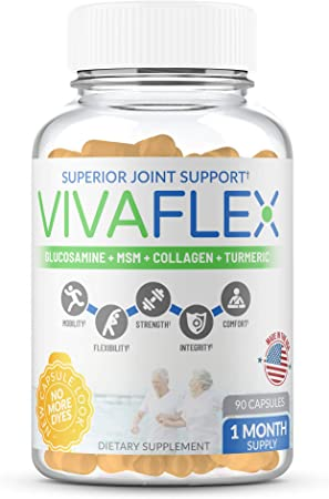 VivaFlex Superior Joint Pain Relief Support – Unique Supplement to Relieve Pain and Discomfort, Soothe & Rebuild Joints – 1 Month Supply