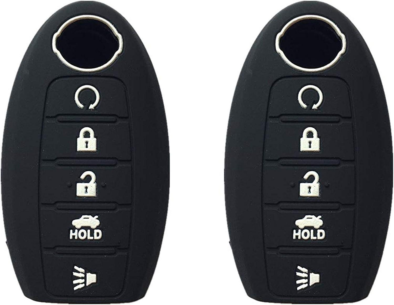 5 Button Black Silicone Skin case Remote Smart Key Cover Shell For Nissan Altima