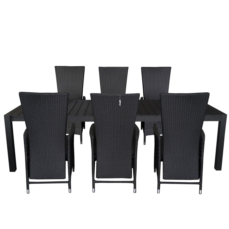 7tlg. Gartengarnitur Gartentisch ausziehbar 205/275x100cm Polywood Tischplatte Aluminium Poly Rattansessel Rückenlehne verstellbar inklusive Sitzpolster Sitzgruppe Terrassenmöbel Sitzgarnitur
