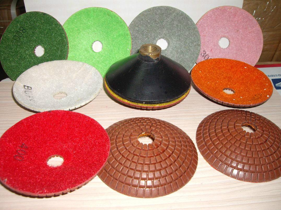 4'' Diamond Convex Polishing 8 Pad & Convex Backer For Concave Sinks or Ogee Edge by Asia Pacific Construction
