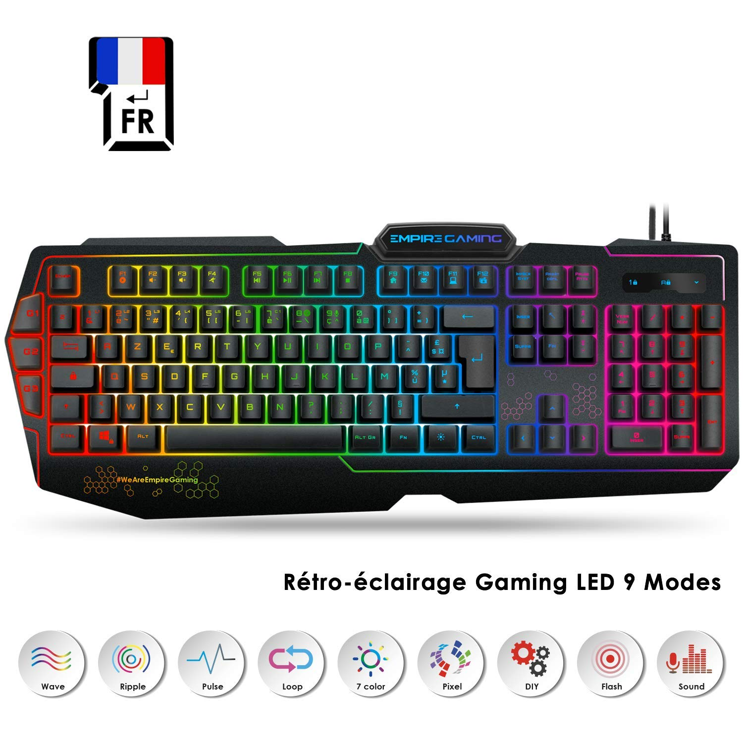 EMPIRE GAMING - Clavier Gamers K900 - Touches Semi-mécaniques- Retro-éclairage LED RGB 9 Modes Dont 1 Personnalisable - 19 Touches Anti-ghosting - 3 macros programmables pour PC Gamer product image