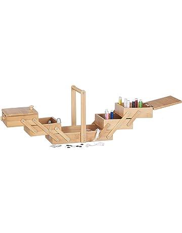 Relaxdays Caja de Costura con Compartimentos, Bambú, Beige, 15 x 27 x 20