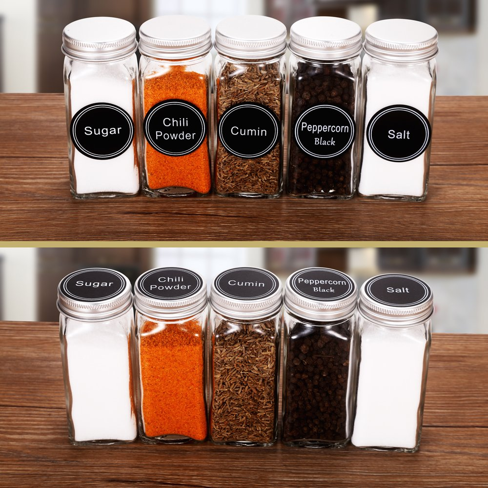 36 Glass Spice Jars with 360 Spice Jar Labels and Funnel Complete Set by SWOMOLY. 36 Square Glass Jars 4OZ, Airtight Cap, Pour/sift Shaker Lid by SWOMMOLY (Image #6)