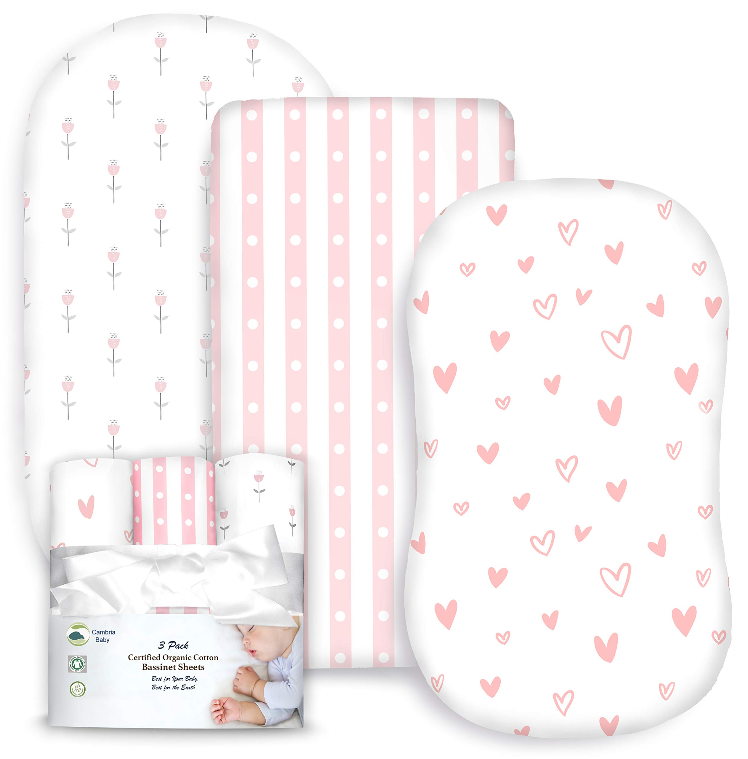 3 Pack Organic Cotton Fitted Bassinet Sheets for Girl, Tiny Tulips, Hearts and Stripes by Cambria Baby