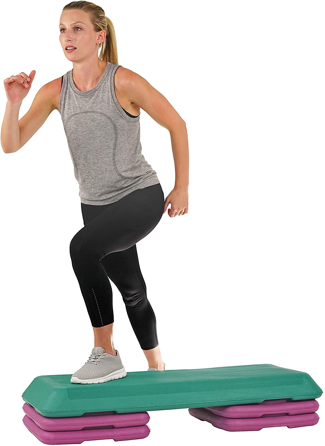 """Aerobic Exercise Stepper Trainer with Adjustable Height 5/"""" 9/"""" 7/"""""""