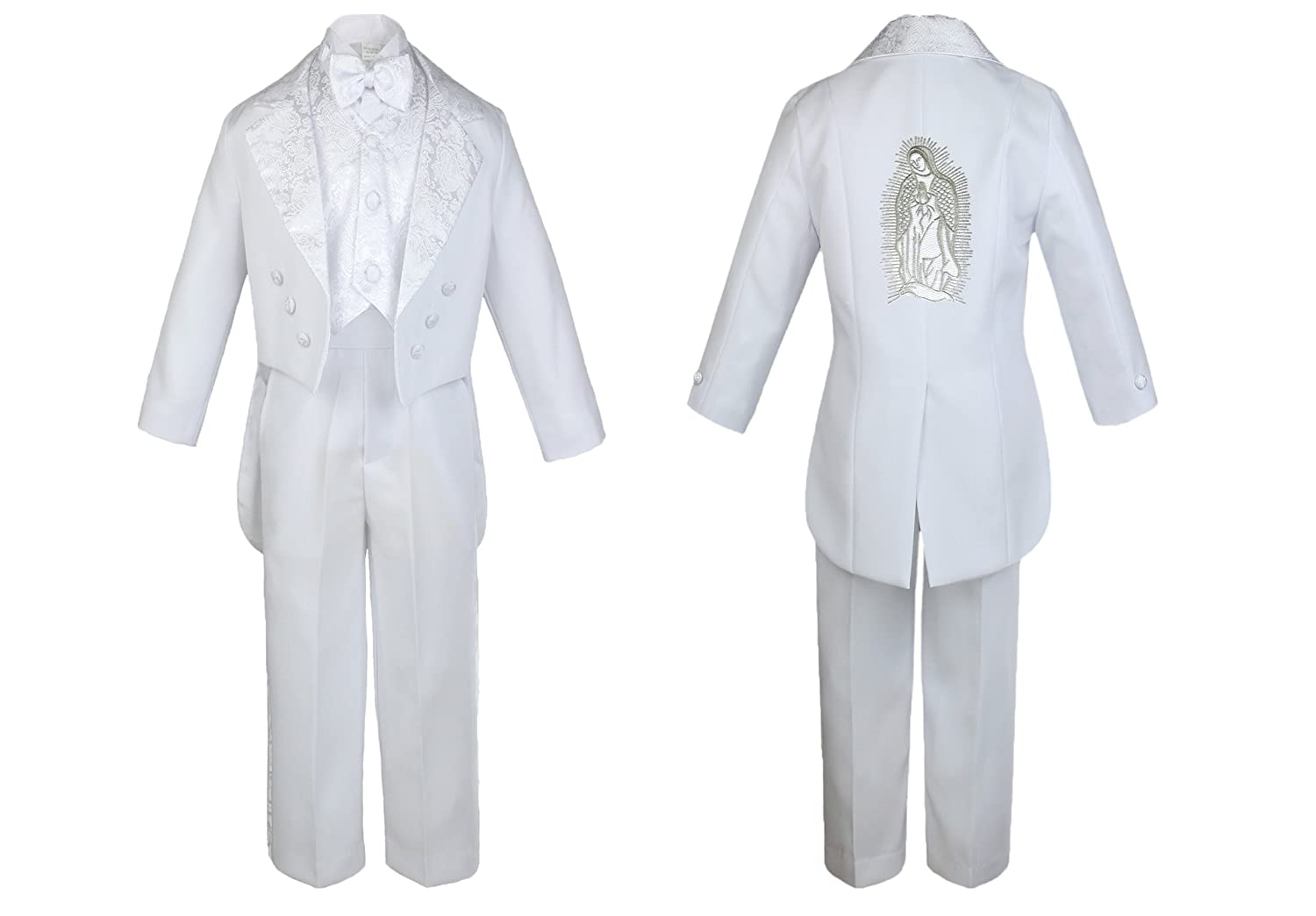 Baby Boy Kid Christening Baptism Church White Tail Suit Mary Maria on Back Sm-7