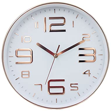 YAVIS Modern Rose Gold Wall Clock, Non ticking Silent Clock, Living Room Decoration Clock,12  Inch
