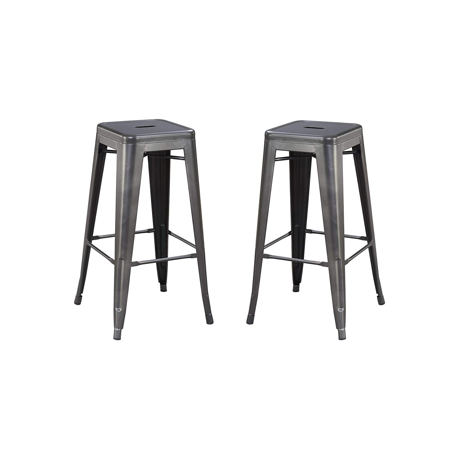 Archer 30 Bar Stool in Sleek Charcoal with All Metal Seat And Frame, Set of Two, by Artum Hill
