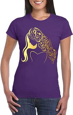 Purple Female Gildan Short Sleeve T-Shirt - Girl – arabic Calligraphy – Gold design