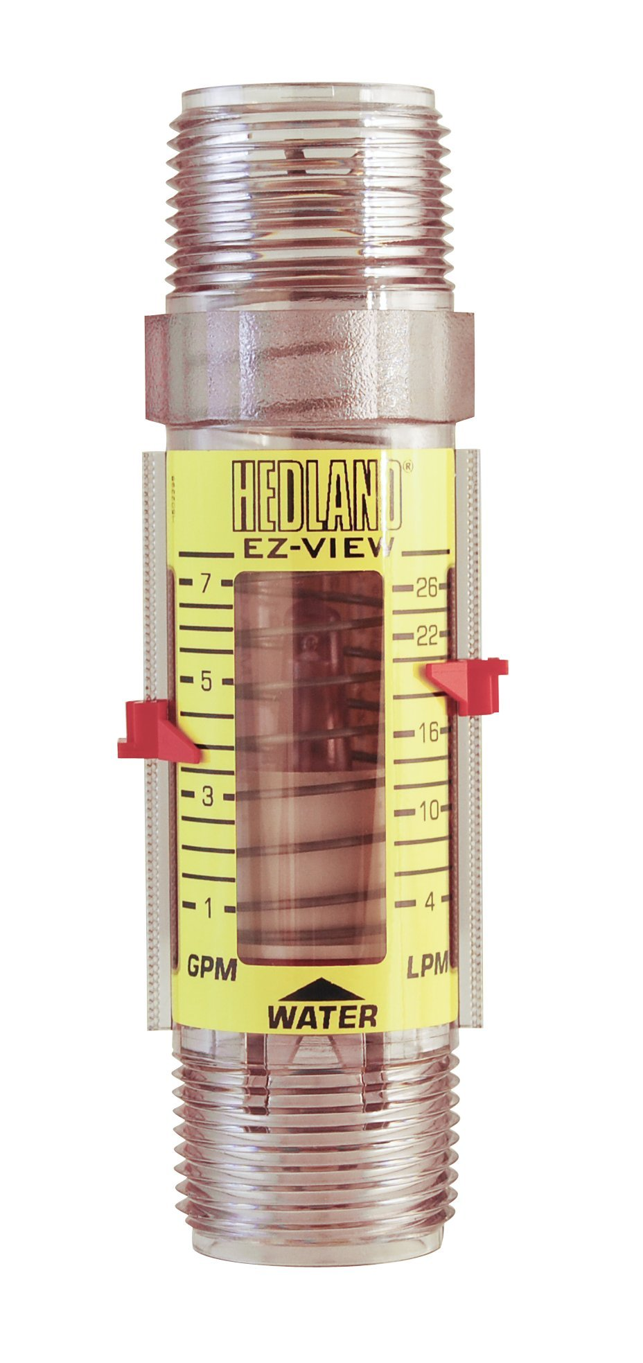 Hedland H621-007 EZ-View Flowmeter, Polysulfone, For Use With Water, 1.0-7 gpm Flow Range, 1'' NPT Male