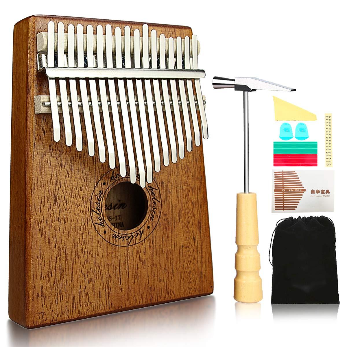 Kalimba, Helesin 17 key Thumb Piano Solid Finger Piano with Locking system, Instruction and Tune Hammer Marímbula Mbira Wood Natural Keyboard Marimba (Mahogany)