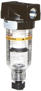 "Parker 14F11BB Compressed Air Filter, Removes Particulate, Polycarbonate Bowl, Manual Drain, 5 Micron, 24 scfm, 1/4"" NPT"