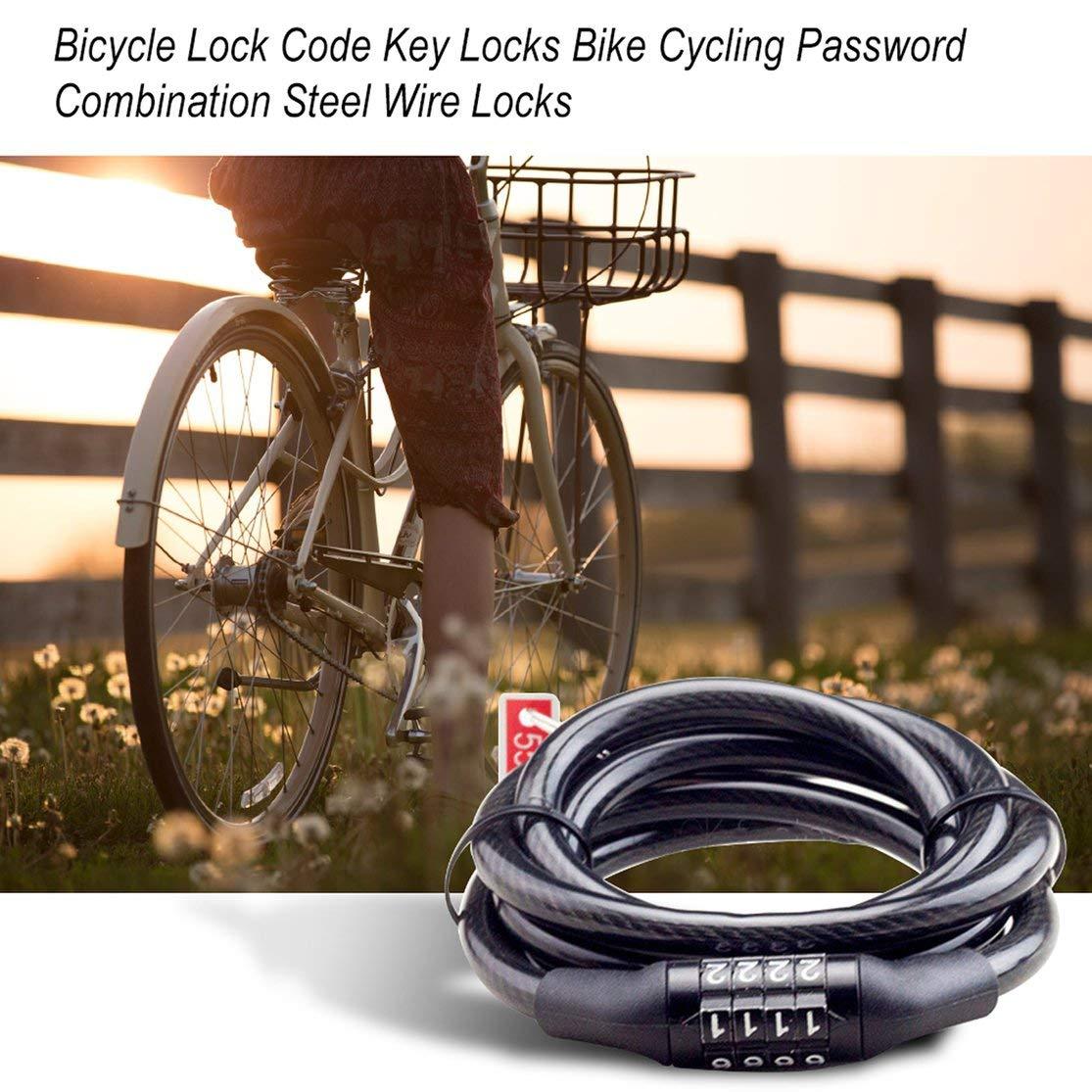 CHANNIKO-ES Bicicleta C/ódigo de Bloqueo Llaves de Seguridad Ciclismo Contrase/ña Combinaci/ón Seguridad Cerraduras de Alambre de Acero Accesorios para Bicicletas