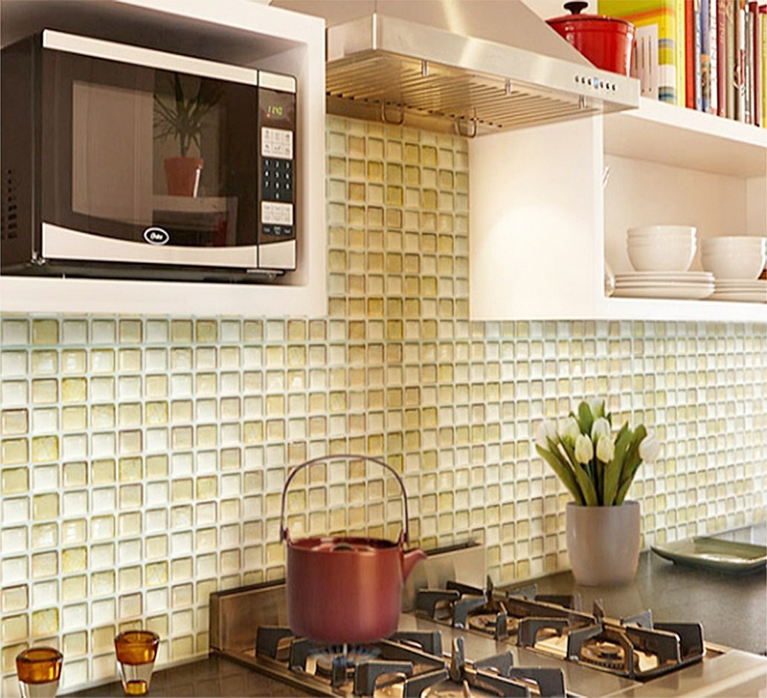 Amazon.com: Beaustile Beige Mosaic 3D Wall Stickers 2 Sheets Home ...